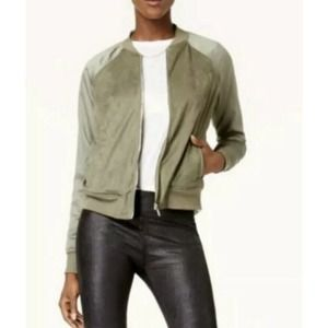 Kensie Faux Suede Bomber Jacket Size XL Green